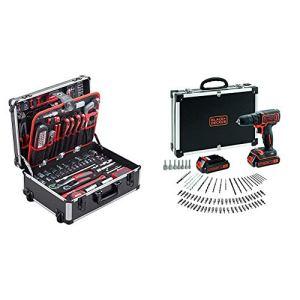 Meister Valise à outils 156 pièces, 8971440 & BLACK+DECKER BDCDC18BAFC-QW Perceuse visseuse sans fil – Chargeur inclus – 80 accessoires – Livrée en malette, 18V, Coffret, 2 Batteries