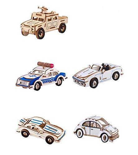 Yuhualiyi123 5 Car Set Puzzle, Woodcraft Modelisme en Bois Puzzle en Bois 3D Kits, Bricolage Creative Assembly, Jouets D'interaction Parent-Enfant (Color : Car)