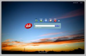 Ask.com Homepage - themed using the Western Sky theme