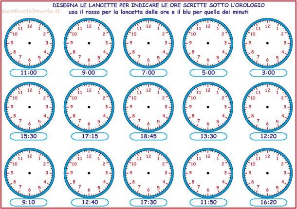 Esercizi per insegnare a leggere l'orologio