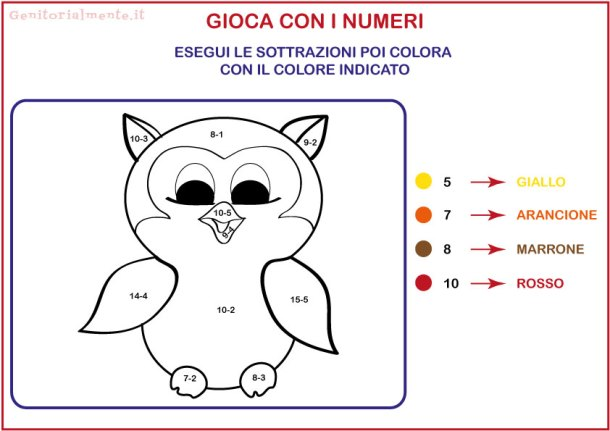 Conta e colora: Schede addizioni e sottrazioni