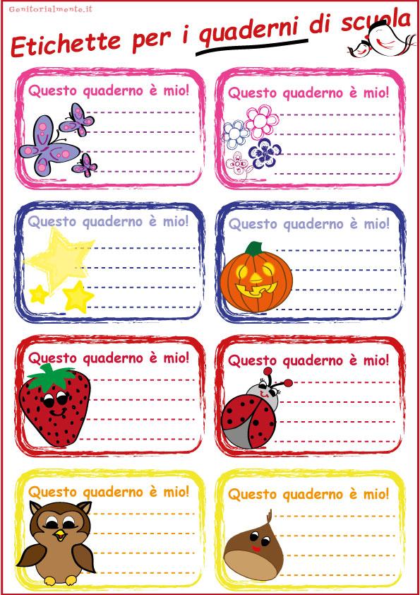 Etichette per la scuola da scaricare - quaderni