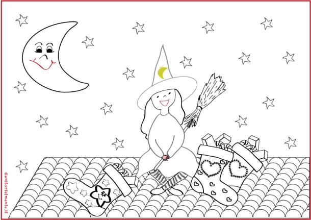 Schede didattiche per i piccoli: colora il disegno della befana | Genitorialmente