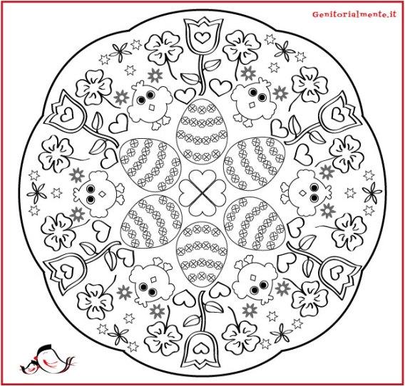 Mandala di pasqua da colorare per bambini genitorialmente for Disegni di mandala semplici