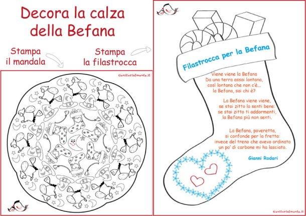 Filastrocca e Mandala della Befana da scaricare | Genitorialmente