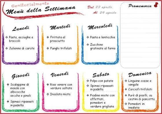 Organizzazione domestica: menu settimanale 23 aprile | Genitorialmente