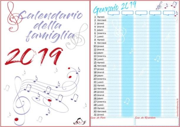 Calendario della famiglia 2019 da stampare gratis | Genitorialmente