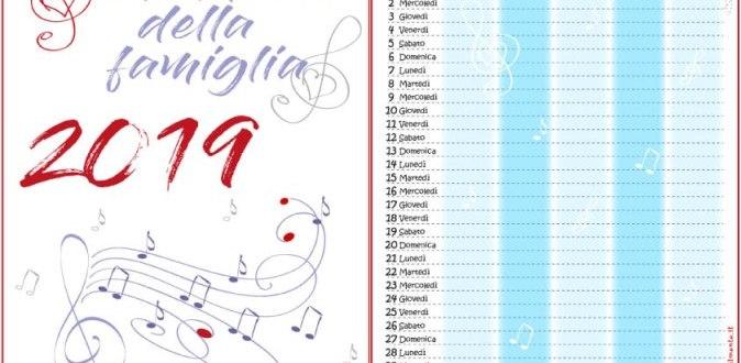 Calendario della famiglia 2019 da stampare gratis   Genitorialmente