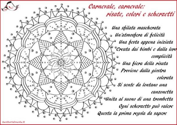 Mandala da stampare con poesia di carnevale | Genitorialmente