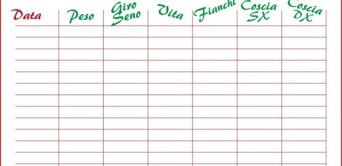 Come dimagrire: tabella per segnare i progressi | Genitorialmente