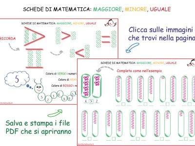 Schede didattiche matematica: maggiore, minore, uguale | Genitorialmente