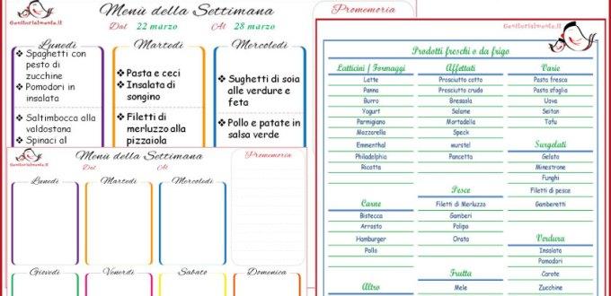 Proposte per il Menù della settimana: idee, ricette e lista spesa | Genitorialmente