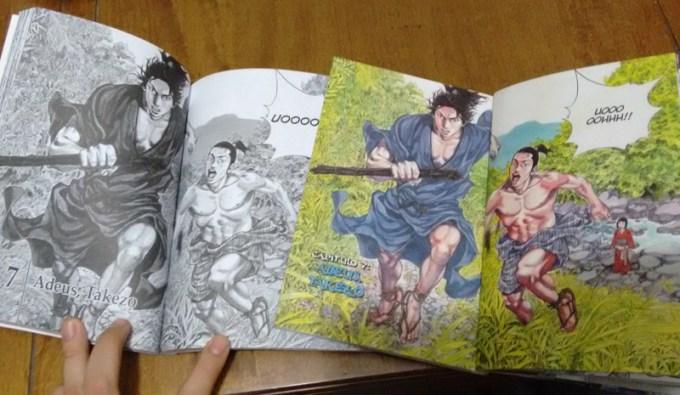 À direita, a versão da Conrad, que possuia mais páginas coloridas (e que continua muito bem preservada!) em comparação com as páginas preto e branco da panini