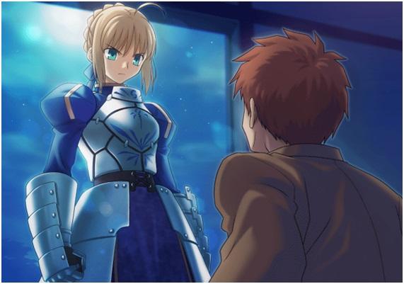 Saber aparece para Shirou pela primeira vez. Imagem retirada do jogo Unlimited Codes.