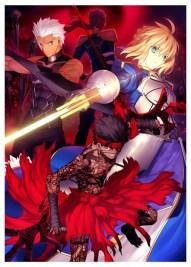 Imagem promocional da nova versão de hollow ataraxia. Ao fundo Lancer, seguido de Archer e Saber e na frente, temos o novo Servo, Avenger.