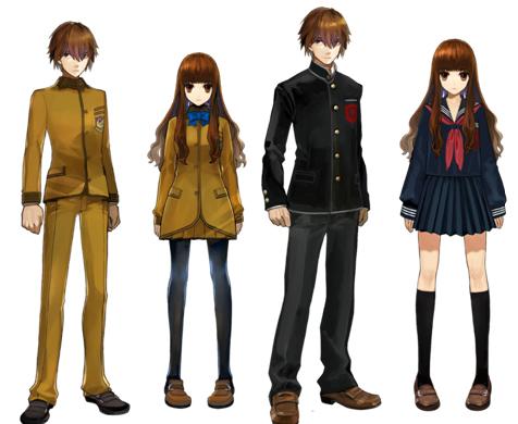 Hakuno Kishinami homem e mulher e seus uniformes alternativos.