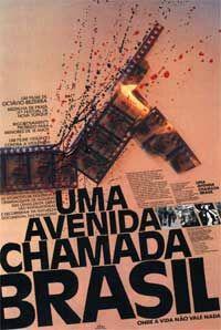 """Imagem mostra um poster com uma rolagem de filmes e manchas de sangue, abaixo há o título do documentário """"Uma avenida chamada Brasil""""."""