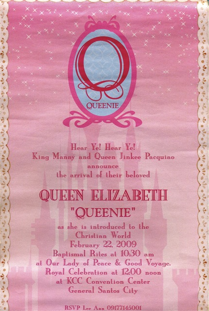 Queenie Pacquiao Baptismal Invitation