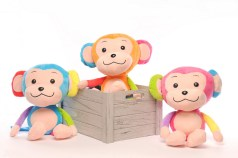 Toy Kingdom's cuddly plush monkeys in playful colors.