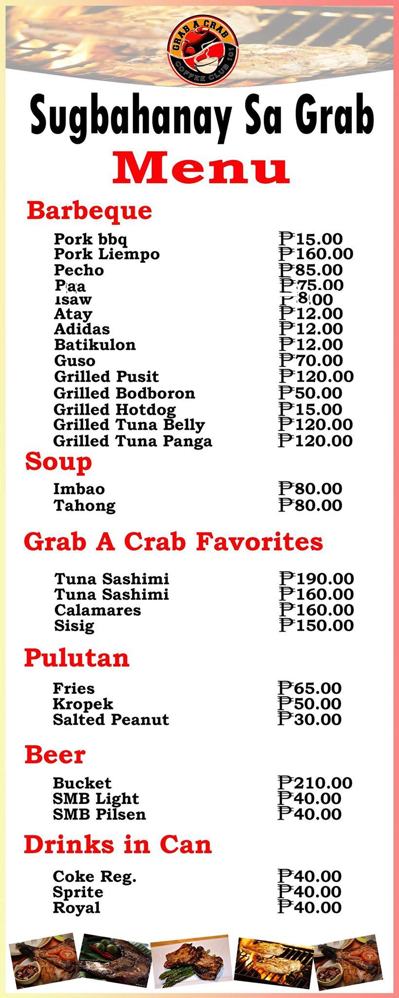 grab a crab sugbahan menu