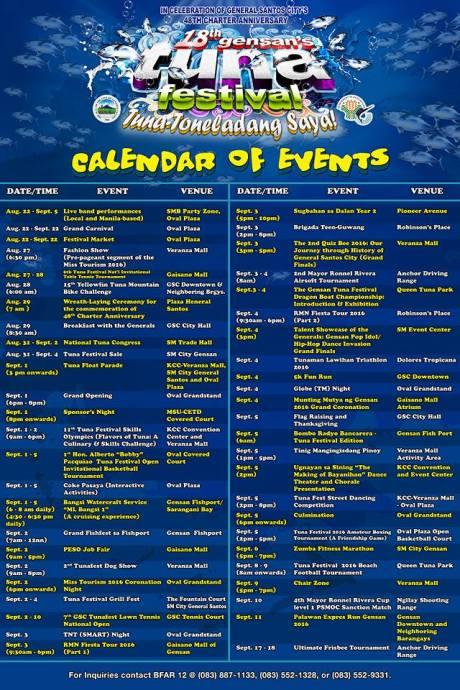 Tuna Festival 2016 Schedule
