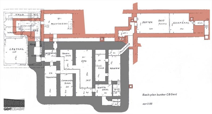 Een grondplan, met de twee aanpalende kazematten geïllustreerd.