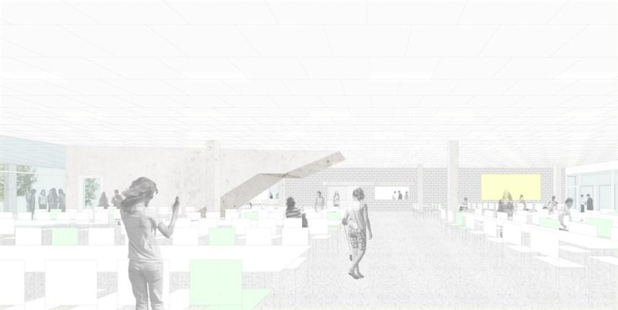 De toekomstige refter van het nieuwe schoolgebouw.