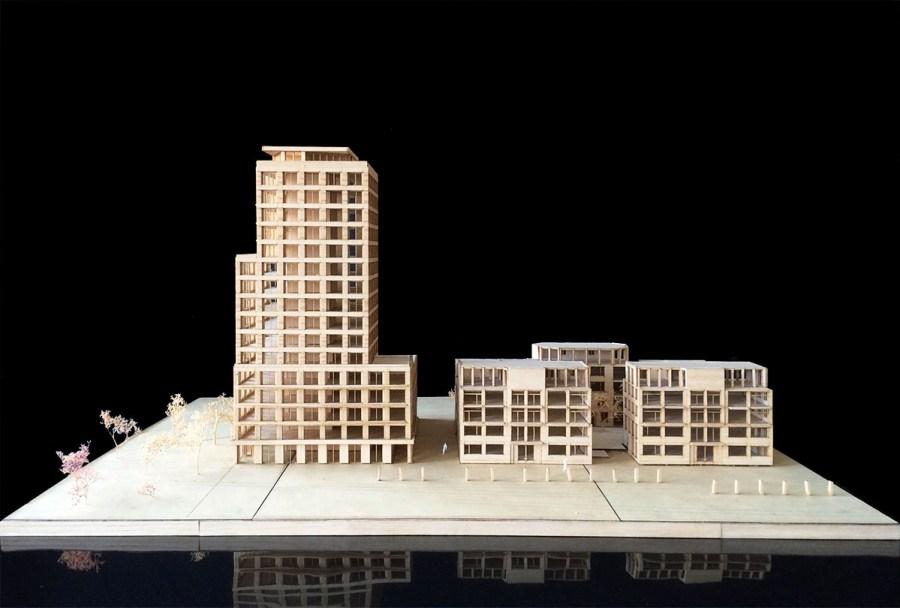 Maquette van fase 1, gezien van de Handelsdokkant.