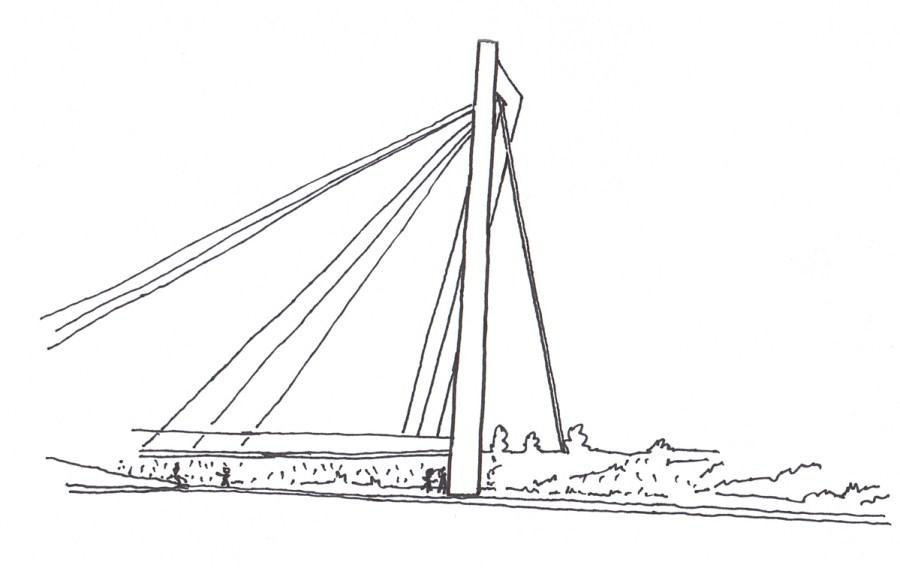 Schets © Arch. Pieter D'haeseleer, ontwerpteam Brug Watersportbaan.