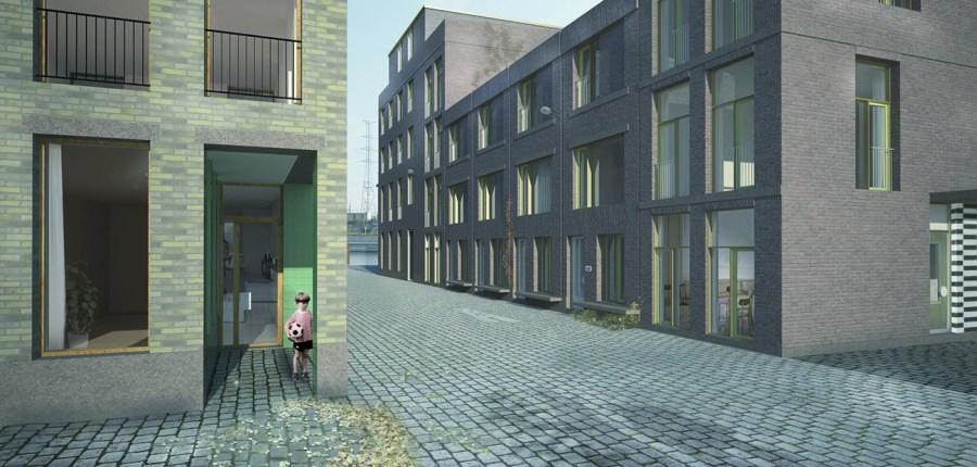 Blik op een van de nieuwe straatjes die tussen de bouwblokken ontstaan. Langs alle straten komen ingangen. Dat versterkt de interactie tussen bebouwing en omgeving en geeft betere garanties voor een levendig straatbeeld.