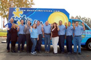 Gentec Electrical team in front of service truck.