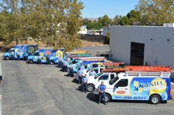Full fleet of Gentec's Tracy electricians service trucks and technicians