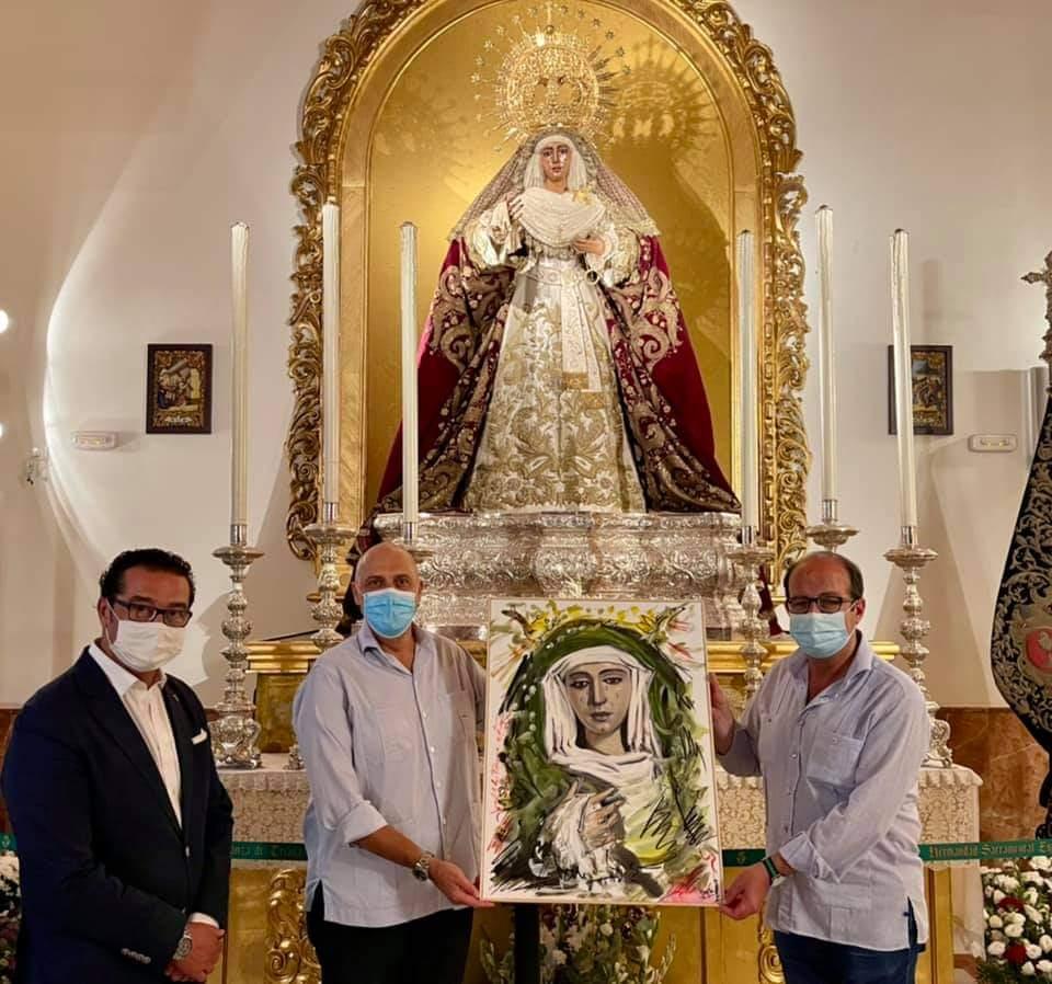 El artista Pedro Romero Sequí dona una espléndida pintura a la Esperanza de Triana