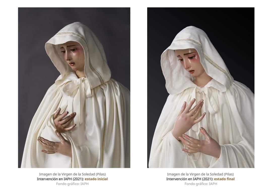 El antes y después de la restauración de la Virgen de la Soledad de Pilas