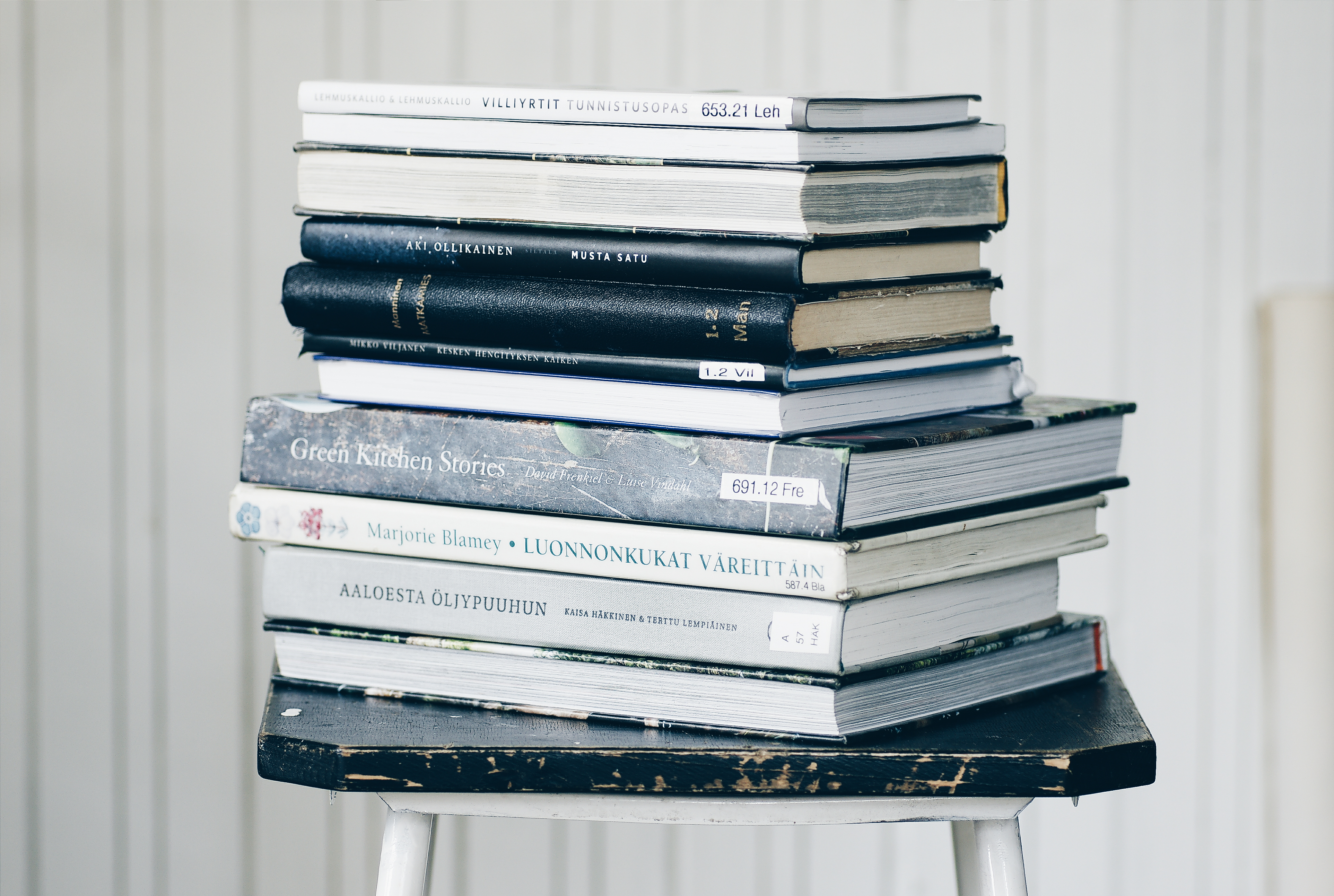 A pile of library books