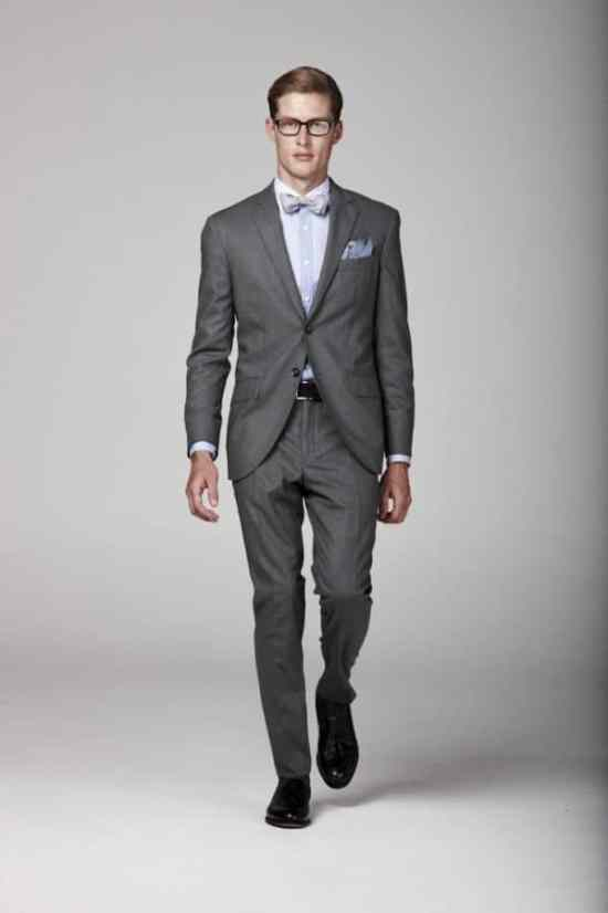 Multipattern Shirt Grey Suit with Rounded Quarters