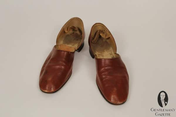 Leather house slippers - that show quite some wear