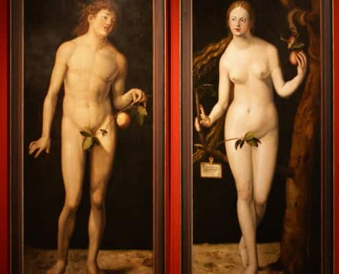 Adam & Eve according to Albrecht Dürer 1507 with Apple leave instead of fig leave