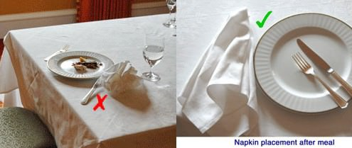 Napkin placement after meal