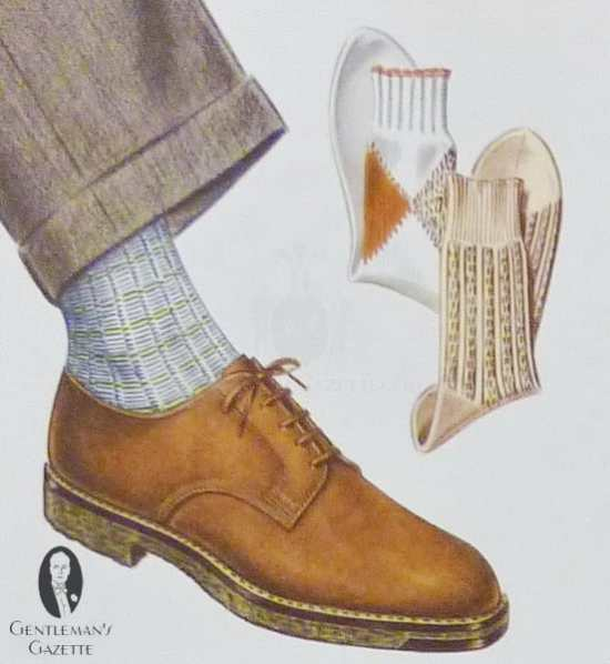 Brown derby shoes with thornproof tweed and patterned socks