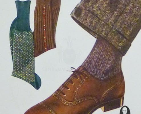 Brown oxford shoe with mid brown suit and purple socks