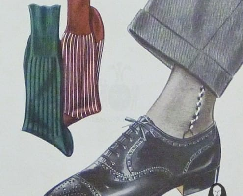 Grey suit & socks wich clocks with black Oxford brogue
