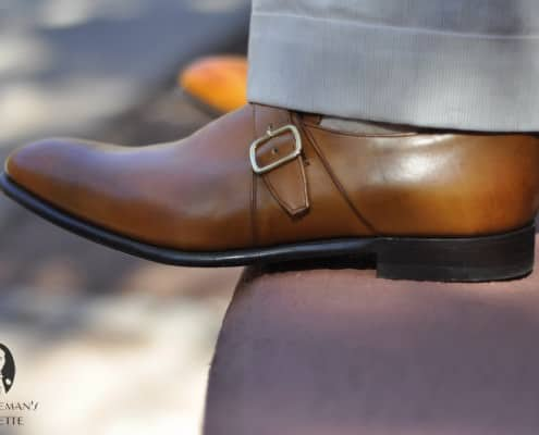 Tan Monk Strap Shoes with beige cuffed pants