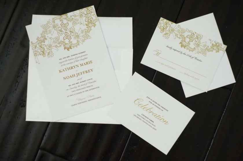 A Wedding Invitation With An To The Reception And Response Card