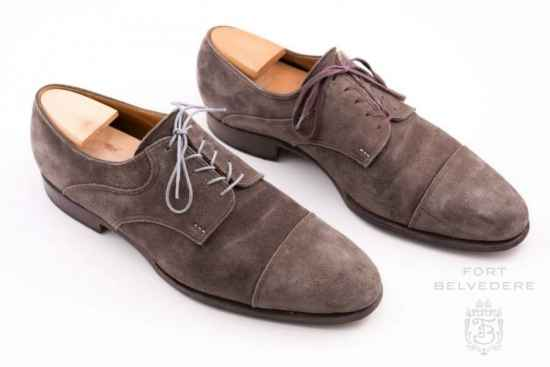 St. Crispin Derby with Light Grey Shoelaces by Fort Belvedere Before & After