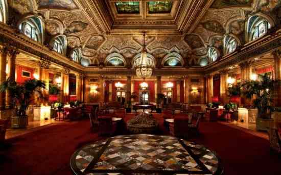 Lobby of the St Regis Grand Hotel in Rome