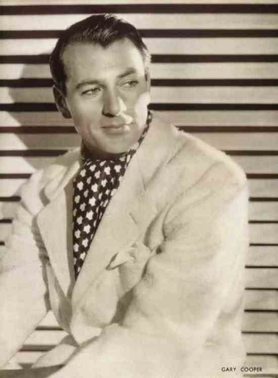 Gary Cooper in a wool jacket and printed silk scarf