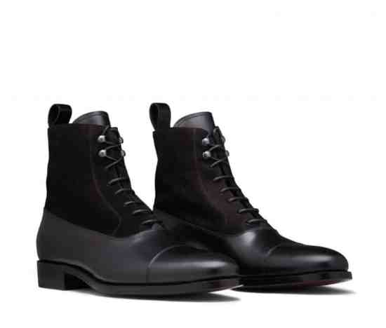 Balmoral Boot in black with suede inserts by Scarosso