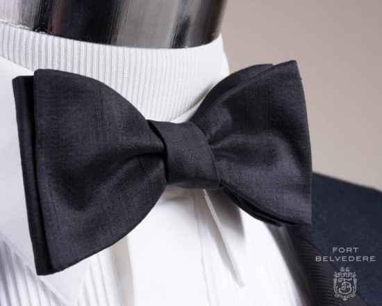 Black Bow Tie in Silk Shantung Sized Butterfly Self Tie