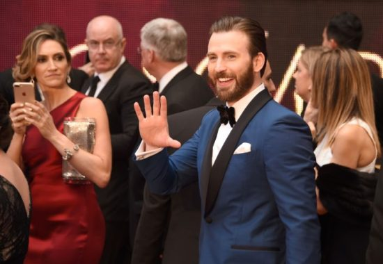 Chris Evans in blue shawl collar dinner jacket with velvet bow tie
